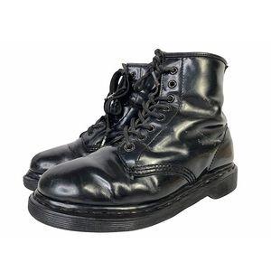 Y2K Dr Martens Mono Black Smooth Leather Grunge Goth 8 Eye Combat Boots M7 W8